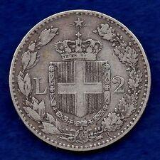 ITALIA, UMBERTO I, 1882 Argento 2 LIRE (rif. c4472)