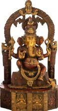 "Master Statue Ganesha On Prabhavali Arch 20"" Brass Jai God Hindu Deity 14.3 KG"