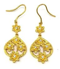 22K Yellow Gold Diamond Flower Dangling Earrings Vintage Tear Drop Pear Shape 9g