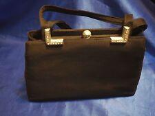 Vintage Miss Lewis black hand bag purse with silver trimmings rhinestones *