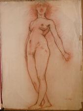 Dessin Sanguine ÉDOUARD LOUIS HENRY-BAUDOT(1871-1953) Nu Féminin debout 1899 HB1
