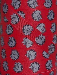 "5 Yds 7/8"" RED BULLDOG BULLDOGS DAWGS GROSGRAIN Ribbon 4 HAIRBOW BOW"