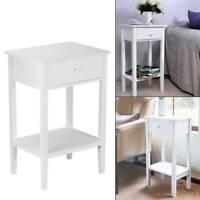 White Bedside Table Cabinet Nightstand Side End Drawer&Shelf Storage Bedroom