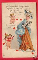 VALENTINE WOMAN CUPIDS HEARTS 1915 WILLIAMS VENEDOCIA  OHIO OH GOMER  POSTCARD