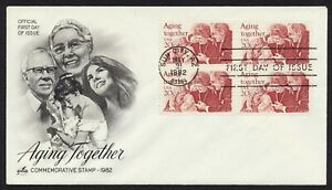 #2011 20c Aging Together-Block of 4, Art Craft FDC **ANY 5=FREE SHIPPING**