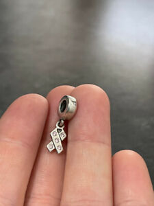 Genuine Pandora Silver ALE 925S Dangly Pink Ribbon (Cancer Awa)  Charm - Discont
