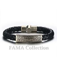Quality FAMA Black Leather Bracelet with Stainless Steel Love Hearts Plate