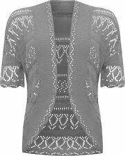 New Womens Crochet Knitted Short Sleeve Shrug Ladies Cardigan Bolero Top Plus
