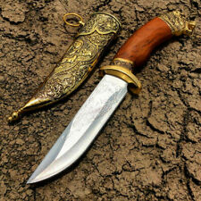 """11"""" Dagger Wood Hunting Survival Skinning Fixed Blade Knife Full Tang Bowie Gold"""