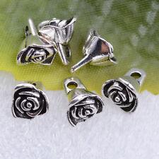 Wholesale 20pcs tibetan silver beautiful roses flowers charm pendant 8x7mm#A5426