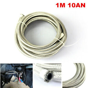 1M 10AN Oil Cooler Stainless Steel Braided Oil Fuel Line Hose 14.3mm ID 20.3mmOD