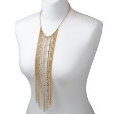 Gold Tassel Bib Necklace Statement Silver Fringe Chain Fashion Boho Jewellery