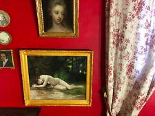 Ancienne huile sur toile représentant une scène de nu