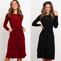 ❤️ Women Long Sleeve Jumper Dress OL Ladies Office Winter Warm Casual Midi Dress