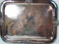 Large Antique Silverplated Butler's Serving Tray With Neptune Facial Swan Etched