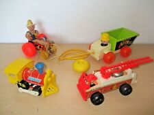 LOT OF 4 VINTAGE 1960's-70's FISHER PRICE PULL TOYS.