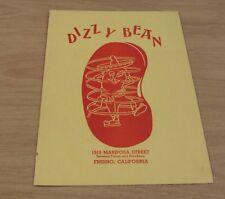 "RARE 1940's MENU to ""The DIZZY BEAN""~Mariposa Street Fresno CALIFORNIA~"
