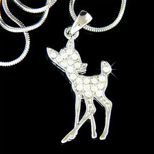 w Swarovski Crystal cute Baby ~BAMBI DEER fawn Charm Chain Necklace Jewelry Gift