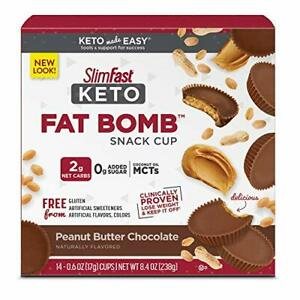 14 ct SlimFast Keto Fat Bomb Snacks Lose Weight Diet Dessert, Peanut Butter Cup