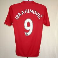 2016-2017 Manchester United #9 Ibrahimovic Home Shirt, Adidas, M (Excellent)