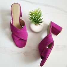Ann Taylor Fuchsia Suede Leather Honor Sandals Slide Heels Womens Shoes Size 8.5