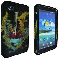 Black Snap-On Hard Case Cover Bird / Heart w/ Sword for Samsung Galaxy Tab I800