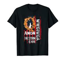 Qanon WWG1WGA Q Anon The Storm Is Here Patriotic Black T-shirt S-3XL