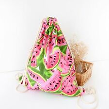 Cotton Canvas Drawstring Travelling Bag Student Bag Water-melon Slice B076 S#