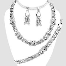 Necklace Earrings Bracelet Silver Crystal Jewelry Set Womens