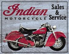 Indian Motorcycles Sales & Service Garage Retro Vintage Decor Metal Tin Sign New