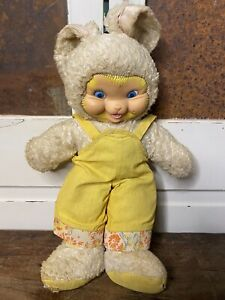 Vintage Gund Stuffed Plush Toy Rubber Face Bunny Rabbit Doll Yellow Overalls