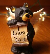 I Love You Wood-Carved Black Bear Angel Log Cabin Rustic Lodge Home Decor New