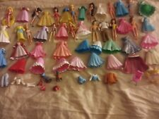 Lot 65 Disney Princess Prince Polly Pocket Dolls Dresses Shoes Skirts More