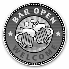 2 x Vinyl Stickers 15cm (bw) - Welcome Bar Open Drinks Pub Beer  #40675