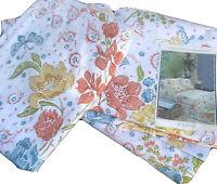 Vtg Martex Orange Green Blue Floral Twin Flat Fitted Sheet Set 60s 70s Cotton