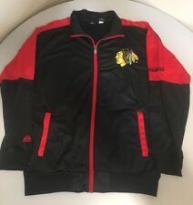 Mens Chicago Blackhawks Black Red Track Jacket Full Zip Mens Tall Large LT