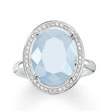 Genuine Thomas Sabo Glam & Soul Blue Aqua & CZ Set Oval Ring TR2044 Size 54