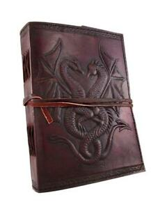 Diary Medium Thick Leather Recycled Paper Dragon Fire Embossed Notebook Journal