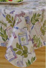 "Vinyl Tablecloth 70"" Round Secret Garden Flannel Backing Seats 4-6 NIP"