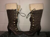 Michael Kors Tall Knee High Womens Leather Lace Up Boots Size 7.5 Brown Logo