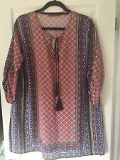 WOMENS TOP BOOHOO 3/4 SLEEVE SHIFT TUNIC MINI DRESS SIZE 16 BLACK PINK IVORY NEW