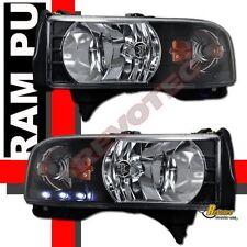 94-01 Dodge Ram 1500 2500 3500 Pickup Black LED Headlights Head Lamps RH + LH