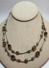 Brighton Silver Dual Beaded Station  Multi Colored Crystal Chain Necklace
