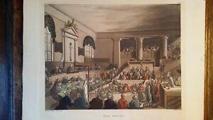 1809 ANTIQUE GEORGIAN ETCHING - OLD BAILEY - ROWLANDSON / PUGIN MICROCOSM LONDON