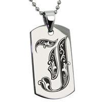 Stainless Steel Alphabet Letter Royal Monogram Dog Tag Neckace or Keychain