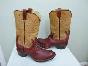 Vtg G&D SADDLERY 13 E Custom Handmade Two Toned Cutout Western Cowboy Work Boots