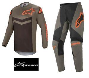Alpinestars Erwachsene 2021 Flüssigkeit Speed Grau/Orange-Motocross Jersy / Hose