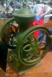 Vintage John Wright Coffee Mill Grinder Cast Iron 11 1/2 Inches Tall 2 Wheel