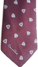"Oscar de la Renta Men's Tie 56.5"" X 3.5"" Purple w/ silver/black Geometric"