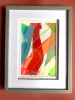 Original Abstract Signed Painting Fluorescent Art Painting Small Grey Frame 6x8